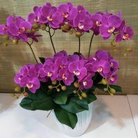 Decorative Flowers & Wreaths 60cm 2 Branches 12 Butterfly Orchid Home Decoration Plastic Artificial Christmas Garden Wedding Party DIY Decor