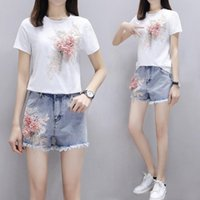 Summer Two Piece Set Women Heavy Work Embroidery 3D Flower T-shirts + Short Jeans 2pcs Sets Casual Shorts Suit Outfits W413 Women's Tracksui