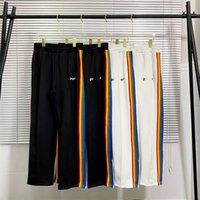 21SSS Marca Rainbow Palm Side Stripe Straight Tube PA Zipper High Street School Uniform Pantalones