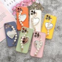 Cajas de teléfono doradas de cuero liso con espejo de amor perla para iphone11 12 pro preciox x xs max 7 8 plus