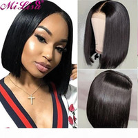 Mi Lisa Short 13x4 Straight Bob Lace Front Wig For Black Women Brazilian Remy Hair Wig Middle Part 2x6 Bob Straight Closure