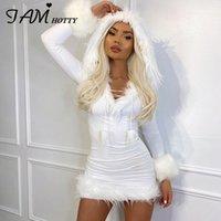 Beyaz Tüy Kürk Patchwork Bodycon Elbise Kadın Kawaii Kapşonlu Uzun Kollu Seksi Kısa Parti Y2K Elbiseler Noel 2021 Iamhotty