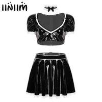 Dienstmädchen Cosplay Exotische Kostüme Frauen Clubwear Miniskirt Outfit Sexy Latex Französischer Maid-Diener Babydoll-Uniformen Sissy Fancy Kleid MX200723