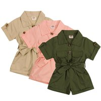 Tulumlar 1-5Y Moda Yaz Toddler Çocuklar Bebek Kız Giysileri Takım Stil Kısa Kollu Yaka Button Tulum Tulum Kıyafetler
