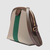 مصمم حمل حقيبة الكتفيد -bag مصغرة إضفالية تحمل العلامة التجارية حقيبة Crossbody 499621 Ophidia Alma Shell شكل كتف أخضر وأحمر شريط مع د