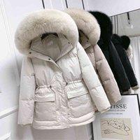 Huge Real Fur Collar Hooded 2021 Short Female Winter Feather Down Coat Women 90% Duck Jacket Puffer Parka