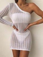 Casual Kalem Elbiseler Bayan Seksi Oymak Elbise Yaz Tasarımcısı Bir Omuz Plaj Dantel Smog Dişiler Beyaz