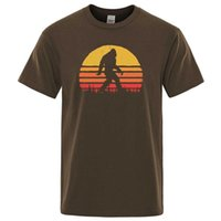 Men's T-Shirts Retro Bigfoot Silhouette Sun Vintage - Believe! T-shirt Men Short Sleeve 2021 Summer Cotton Brand Tops Casual Funny Tee Shirt