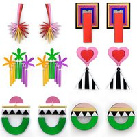 Punk Mix Color Geometric Exaggerated Cool Acrylic Earrings For Women Plant Y2K Style Dangle Female Fashion Jewelry & Chandelier