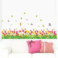 Wall Stickers DIY Mural 40*114cm Sticker Home Decor Removable PVC Tulip Flowers Grass Foot