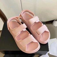 2021 Glatte Linie Frauen Klettanschlüsse Sandalen Ultraleicht Komfortable Massivfarbe Sommersandalen Mode Design Vielseitige Flachschuhe