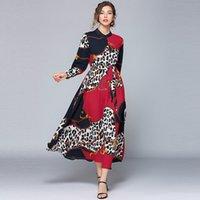 Borisovich Vintage Leopard Print Women Casual Long Fashion Runway Style Elegant A-line Ladies Party es N1126