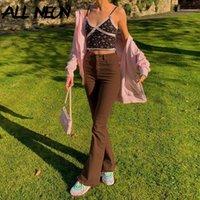 5742 mulheres moda fina fit marrom fleans jeans vintage sólido cintura alta calça feminina moda calça de demina