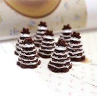 Kawaii Simulação Resina Christmas Chocolates Cake Tree Food Food Play Cabochon DIY Scrapbooking Embelishments Crafts