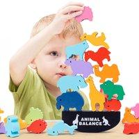 Niños Montessori Balance de animales de madera Bloques Blanco Juegos Juguete Dinosaurio Industrial Apilamiento Alto Bloque de Edificio Madera Juguete Muchachos