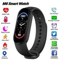 M6 Smart Brintbands Сердечкового монитора кровяного давления Фитнес-трекер цветной экран IP67 водонепроницаемый
