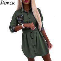 Camicia Dress Dress Donne Stampate Paillettes moda Manica Lunga Manica A Guarnizione Abiti Abiti Plus Size Casual Mini Dress Vestidos1