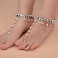 Beach Flashing Alloy Metal Bohemiartificial Diamonds Footwear Water Droplets Imitation Pearls Tassels with Toe Anklets for Women J0510