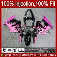 Cuerpo de molde de inyección para Kawasaki Ninja ZX-636 ZX 600 CC 6 R ZX636 ZX-600 ZX6R 00 01 02 Bodywork 37hc.58 Pink Flames ZX 636 600cc ZX-6R ZX600 ZX 6R 2000 2001 2002 Carrequilo OEM