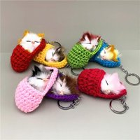 Keychains Cute Sleeping Cat Keychain Slippers Plush Bag Pendant Car Key Chain Simulation Animal Gifts K4180