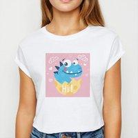 부러진 껍질 여성 T 셔츠가있는 특대 공룡 여름 하라주쿠 귀여운 핑크 인쇄 라운드 목