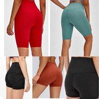 Kadınlar Lulu Tayt Yoga Pantolon Tasarımcı Bayan Egzersiz Spor Giymek Lu 32 68 Düz Renk Spor Elastik Fitness Lady Genel Hizalama Tayt kısa 01 J8A4 #