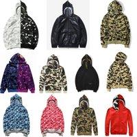 Fashion zip-front shark hoodie camouflage print Sweatshirt bathing ape cardigan Hoodies Hip Hop Letters Long Sleeve Plush mens womens coats
