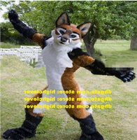 Long Fur Furry Brown Fox Wolf Husky Dog Fursuit Mascot Costume Adult Cartoon Character Lovely Annabelle About Holidays zz7589