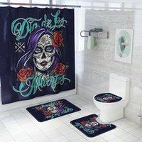 Shower Curtains High Quality Halloween Ghost Face Girl Print Curtain Waterproof Set Bathroom Non-Slip Bath Mat Carpet
