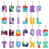 2022 Chirstmas Alphabet Letters Pop Push Key-chain Party Favor Cell Phone Straps Silicone Letter Sensory Bubbles keyring Simple Dimple