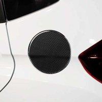 1 adet Karbon Fiber Yakıt Deposu Kapak Dekoratif Sticker Araba Dekorasyon Araba Styling Aksesuarları Honda Fit / Jazz 2014-2018