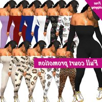 Damen Fitness Pausen Sexy Schulterfrei Bodycon Long Mouw Overall Ein Stück Luipaard Printed Strampler Trendy Party Club Outfits