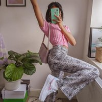 Women's Pants & Capris Women Trousers Casual Flare Long Fashion High Waist Geometric Print Slim Fit Bell Bottom Female Streetwear