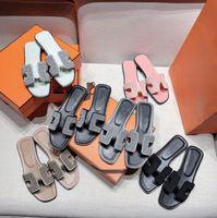 Oran sandalen flacher boden leder raubsauge und hohl obere oase sandalen high heel damen strand hausschuhe Straußendruck Slipper EUR 35-42 S0SX #