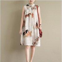 Ethnic Clothing 2021 Chinese Dress Sleeveless Women Long Cheongsam Linen Qipao Traditional Vestido