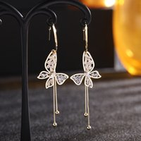 Süße niedliche Schmetterling Kristall Korea Mode Temperament Quaste Ohrringe Marke Design Lange Baumeln Luxus Schmuck
