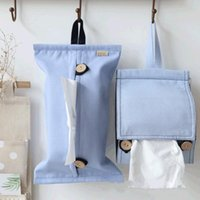 Cotton Linen INS Style Tissue Buggy Bag With Lanyard Space Saving Car Sets Bathroom Toilet Roll Holder Boxes & Napkins
