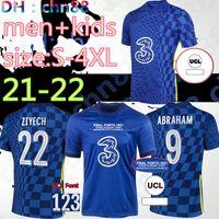 Tamanho: S-4XL CFC 21 22 22 Jersey Soccer Pulisic Ziyech Havertz Kante Werner Abraham Chilwell Mount Jorginho 2021 2022 Giroud Camisa de futebol Men + Kids Kit