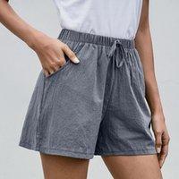Anbenser Curta Calças de Algodão de Verão Mulheres Shorts Feminino Largura Perna Calças Casuais Loose Plus Size Elastic Waist XL Mulheres