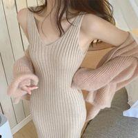 Maternity Dresses 2021 Fashion Pregnant Women Dress Women's Clothing Tank V-Neck Knit Autumn