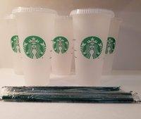 50 morceaux de Tumbler Starbucks 710ml Réutilisable Coupe froide de 24 oz givrée avec couvercle et paille verte Rose Starbuck Couleur Change Change Eau Tasses Mignon Rainbow PP Matériau Matériel Été