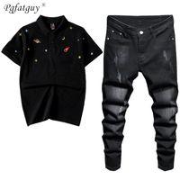 2021 летние мужские трексуиты растягивающие черные джинсы наборы вышитые планеты элемент с короткими рукавами рубашка поло и брюки 2шт набор плюс размер M-4XL