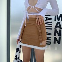 Skirts OMSJ Fall Winter Mini Bandage Skirt Lady Fashion Casual Khaki High Waist Sexy Patckwork Hollow Out Streetwear Slim Pencil