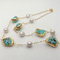 """32 """"Weiß Keshi Pearl Blau Howlite Nugget Gelbgold Farbe plattiert Pave Lange Halskette Ketten Halskette Party Ethnic Für Frauen"""