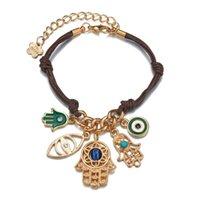 2021 Handwoven Bracelet Lucky String Thread Hamsa Blue Turkish Evil Eye Charm Jewelry Fatima Friendship Bracelets Adjustable DIY Jewels