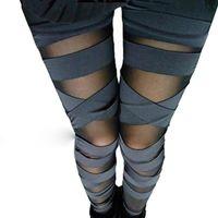 Bandage Charming Leggins Slim Womens Leggings Punk Legins Fashion Sexy Splicing Pants Stretch Black Trousers Patchwork