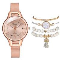 Relojes de pulsera 4pcs Pulsera Set Mujer Rose Gold Malla Cinturón Roma Dial Reloj Luxury Ladies Acero Inoxidable Cuarzo Relojes Relogio Feminino