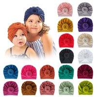 Baby Turban bonnet soild color cotton top knot Inner Hijab african twist headwrap girls boys head wraps India Hat Hijabs Cap RY19