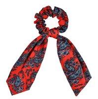 Lungo porta coda di cavallo supporto floreale stampa elastici per lady girl capelli cravatta sciarpa fasce accessori ood 5880
