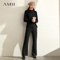 Vestido de dos piezas AMII Minimalista Estilo extranjero de tejer Traje de ocio 2021 Invierno Top Top Micro Speaker Pantalones Set